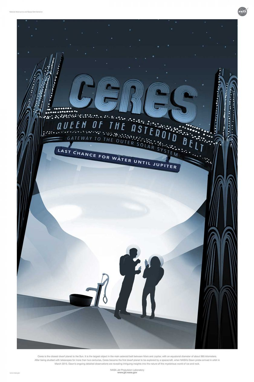 NASA poster promoting space travel to Ceres
