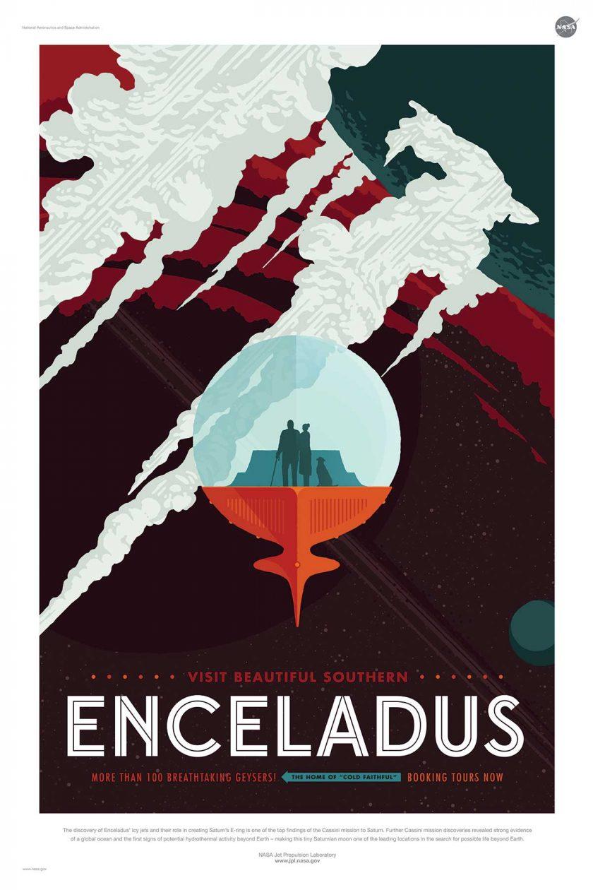 NASA poster promoting space travel to Enceladus