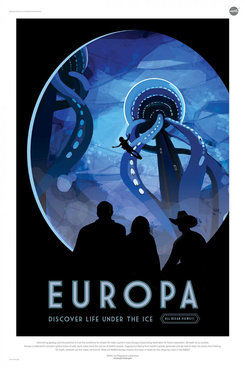 NASA poster promoting space travel to Europa