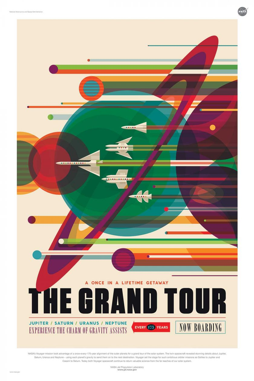 NASA poster promoting space travel around the solar system