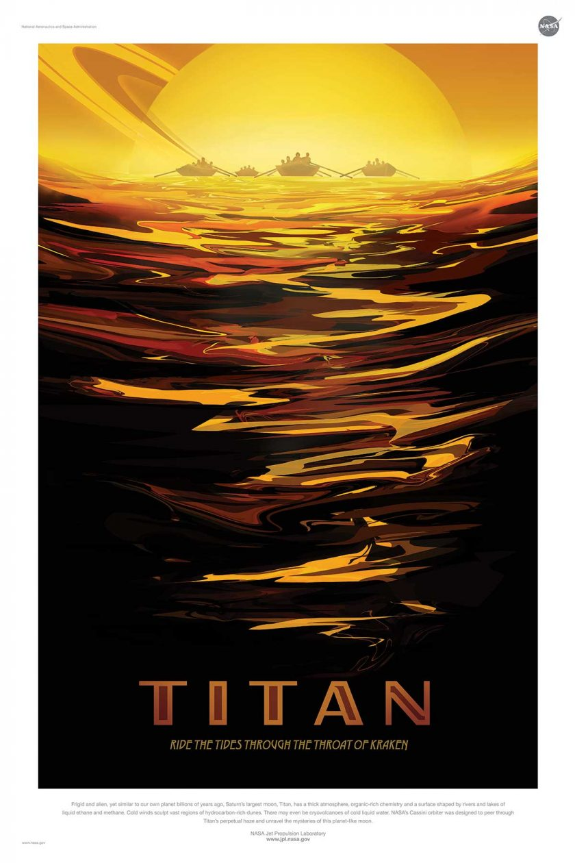 NASA poster promoting space travel to Titan
