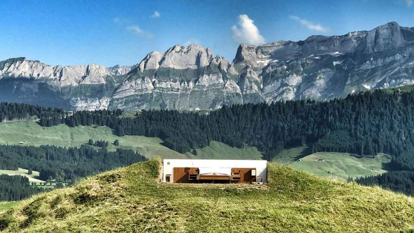 this wall less hotel offers panoramic views of the swiss mountains. Black Bedroom Furniture Sets. Home Design Ideas
