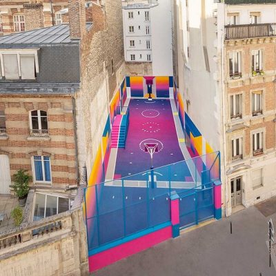 An uber-stylish basketball court has been squeezed into one of the most unlikely places in Paris