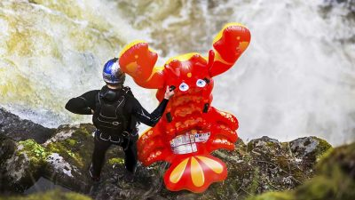 Rafa Ortiz just rode an inflatable lobster down a 70ft waterfall