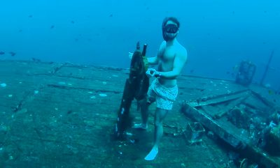 Free-diver explores incredible shipwreck 35 metres deep on one breath