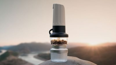 LUME is a lightweight burr coffee grinder that doubles up as a camping lantern