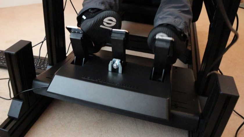 Thrustmaster T3PA pedals mounted on the Sim-Lab GT1 Evo cockpit