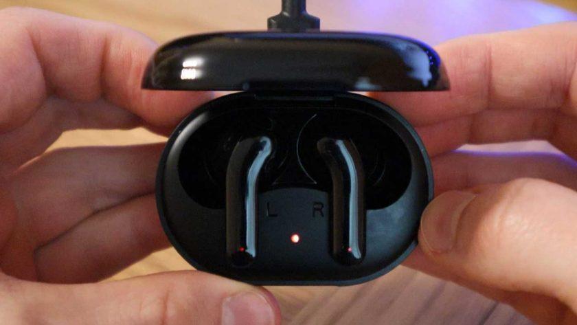 The Zendure ZenPods charging in the charging case.