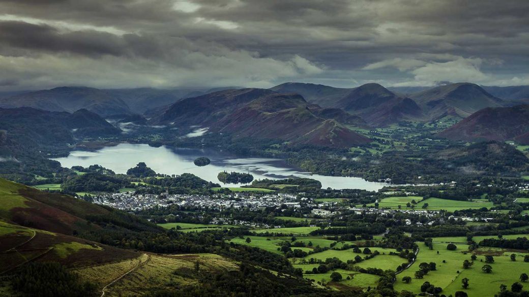 Keswick town and Derwentwater lake in the Lake District