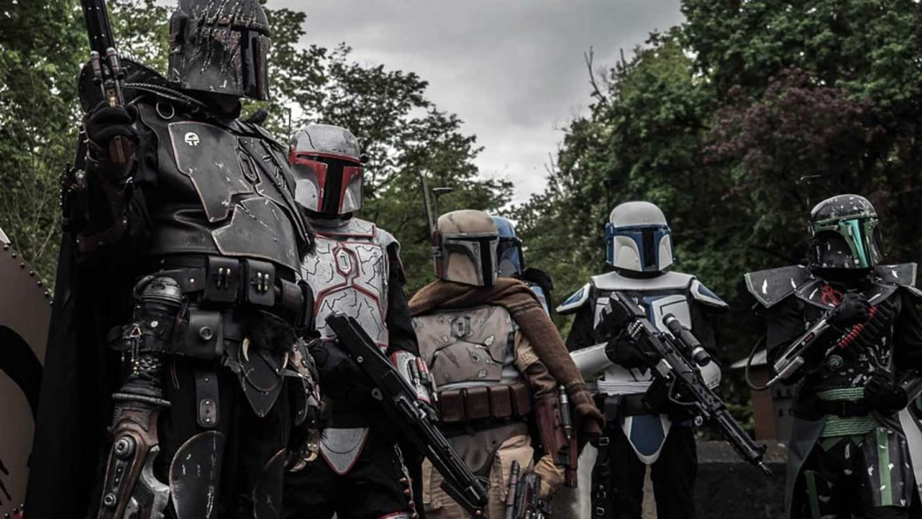 Group of people dressed in Star Wars Mandalorian cosplay constumes
