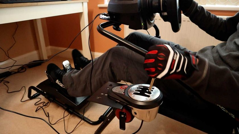 Thrustmaster T3PA pedals and TH8A shifter mounted on the Next Level Racing GT Lite