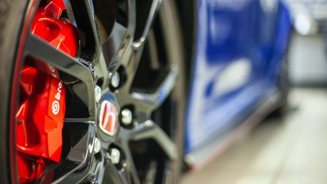 High performance disk brakes on a car