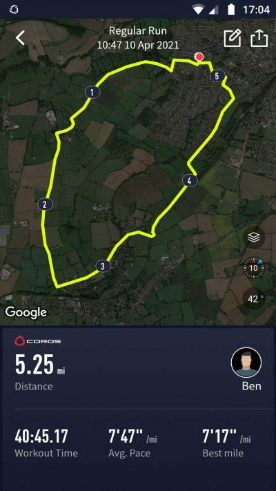 GPS tracking data recorded on the Coros Vertix