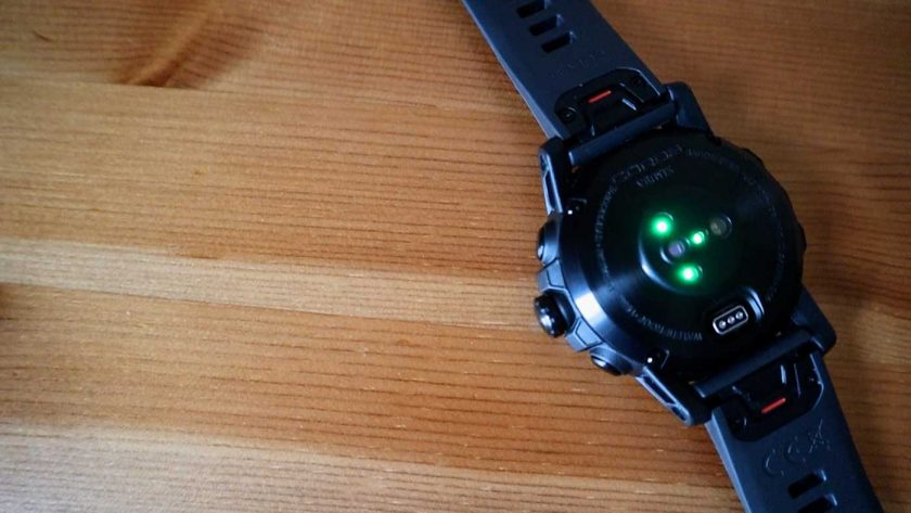 Optical sensor package on the back of the Coros Vertix, which includes a heart rate monitor and pulse oximeter