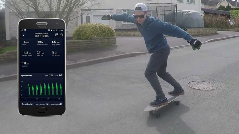 Using the Coros Vertix snowboarding mode to track a surfskate session