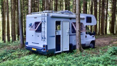 Motorhome parked in a wood