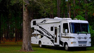 RV parked on grass in woodland area