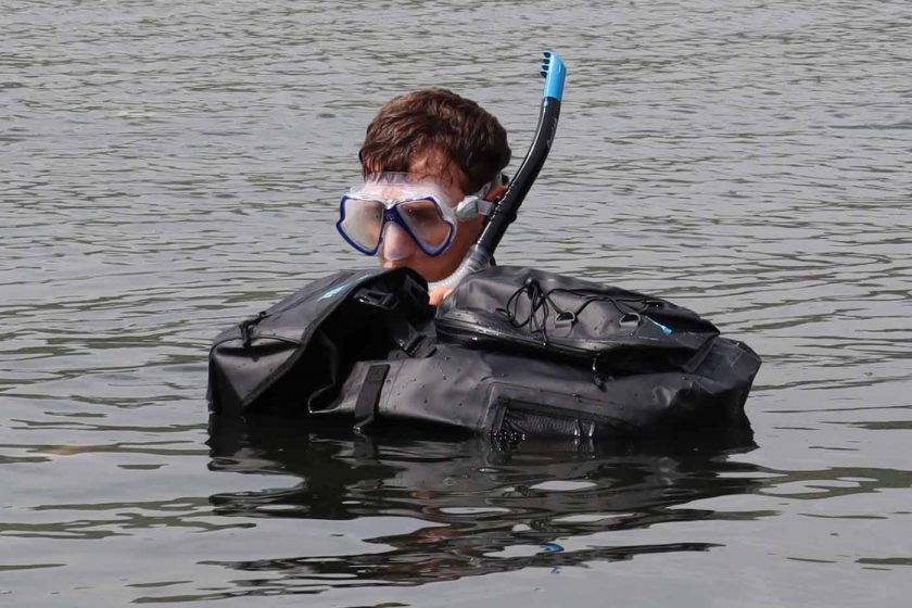 Snorkelling with the DryTide 50L waterproof backpack