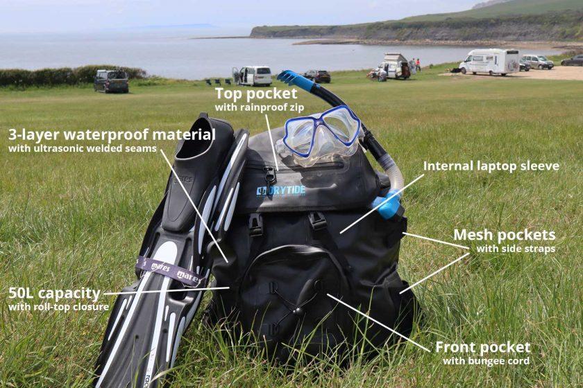 DryTide 50L waterproof backpack specs