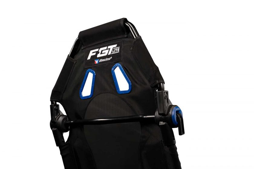 The Next Level Racing F-GT Lite iRacing edition cockpit features blue accents instead of red