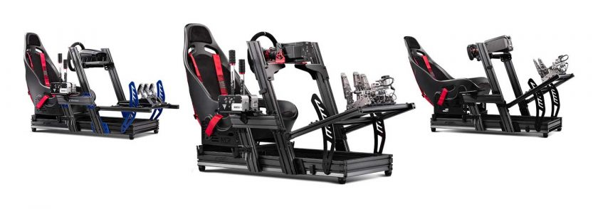 The Next Level Racing F-GT Elite iRacing edition (left), front & side mount edition (centre), and wheel plate edition (right)