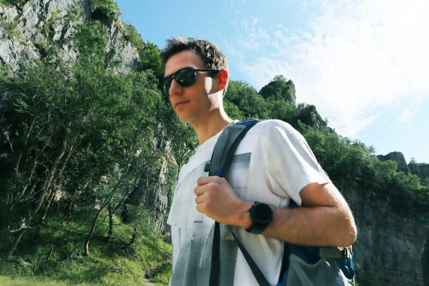 Wearing the Vallon Howlin' sunglasses on a rock climbing trip to Cheddar
