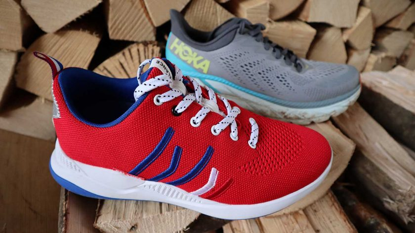The Relance RL-01 compared to the Hoka Clifton 7, highlighting the similarity in outsole shape